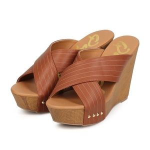 Qupid Leatherette Criss Cross Slip On Wedge Sandal